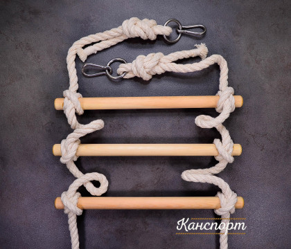 Веревочная лестница Лемур хлопчатобумажная с кольцом и карабином