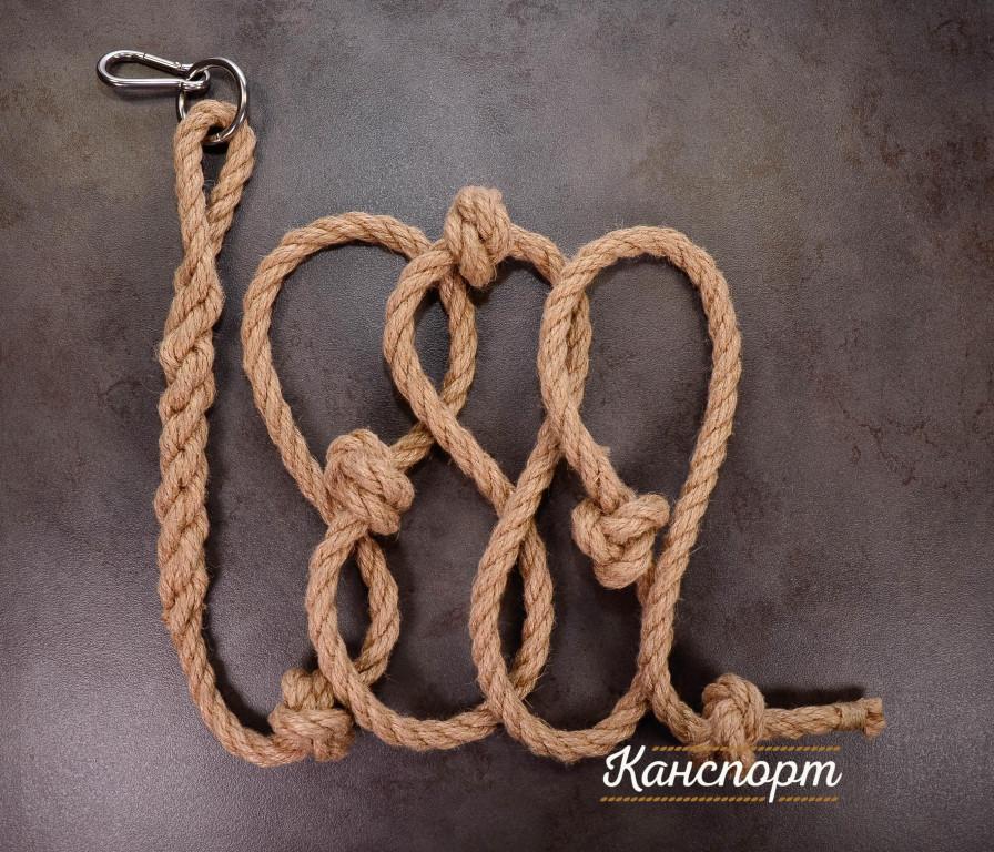 Веревка для лазания джутовая с кольцом и карабином