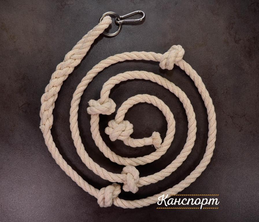 Веревка для лазания хлопчатобумажная с кольцом и карабином