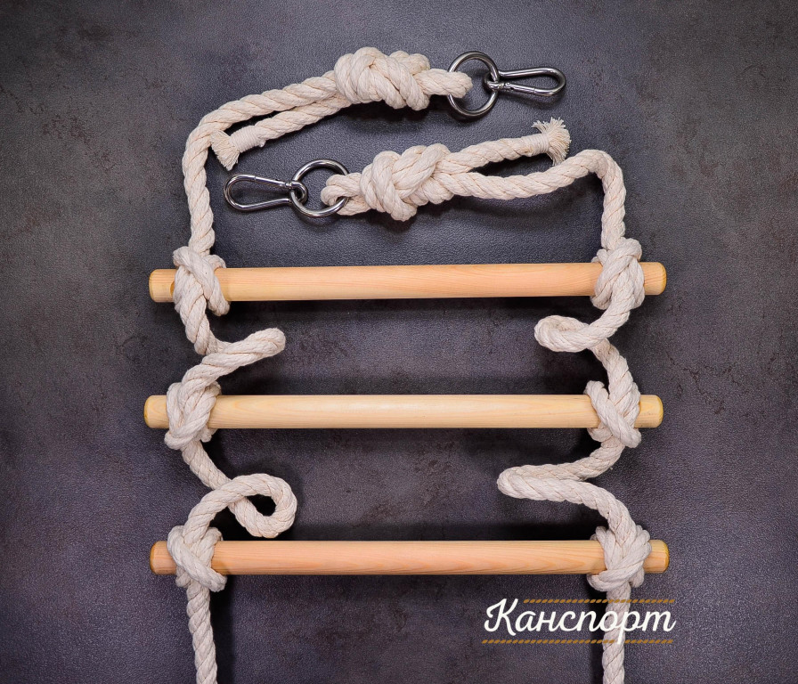 Веревочная лестница хлопчатобумажная с кольцом и карабином