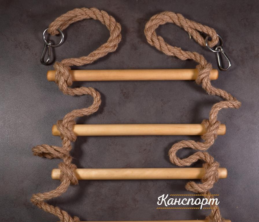 Веревочная лестница Лемур Джутовая с кольцом и карабином